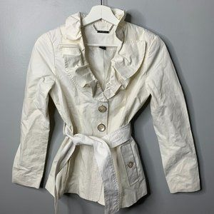 White House Black Market Ivory Ruffle Coat